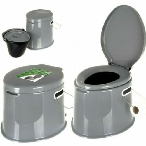 Portable Grey Plastic Lightweight 5L Camping Toilet w// Lid Handles /& Roll Holder