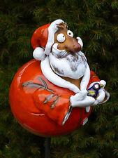 Keramik Weihnachstmann Nikolaus Beetstecker Advent Garten Weihnachten Edelrost