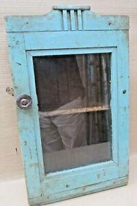 Vintage-Wood-Cabinet-Curio-Display-showcase-Original-Blue-solid-back-distress