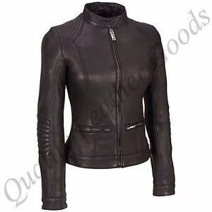 prezzo competitivo 9aa3a a6bc2 Dettagli su da donna Premium Pecora Giacca di pelle motociclista IMBOTTITO  TRAPUNTATO