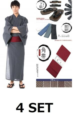 Japonais Homme Yukata Kimono OBI kosihimo Sabots Set 4 Coton Uni × Ash