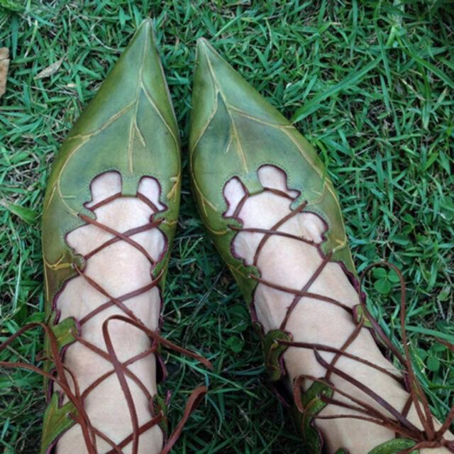 Womens Ladies Leaf Design Shaped Gladiator Lace UP Flat Shoes Big Size Unique