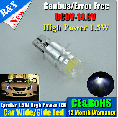 1x T10 W5W 194 168 1.5W Len LED No Error Canbus Side Lamp Wedge Light Bulb White