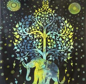 Copriletto-matrimoniale-indiano-Elefante-Albero-verde-nero-230x210cm-cotone