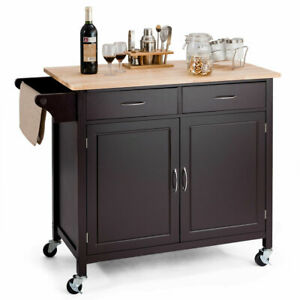 Modern-Rolling-Kitchen-Cart-Island-Wood-Top-Storage-Trolley-Cabinet-Utility-New
