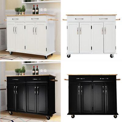 Kitchen Island Unit Butchers Block Trolley Breakfast Bar Table Storage Cabinet eBay