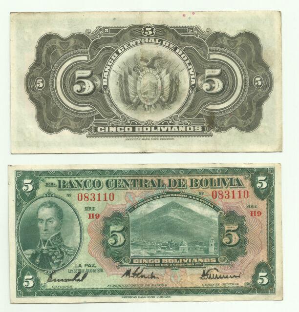 BOLIVIA 5 BOLIVIANOS 1928 P  120. VF CONDITION.