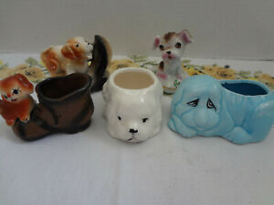 Vintage-Lot-Of-5-Made-In-Japan-Dog-Figurines-amp-Planters-Puppy-Shoe-Salt-Pepper