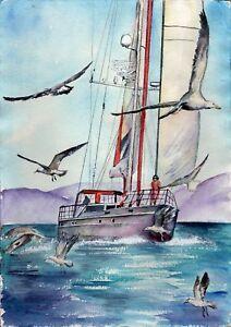 Yacht-Gulls-original-watercolor-landscape-painting-sea-bird-marine-ocean-ship