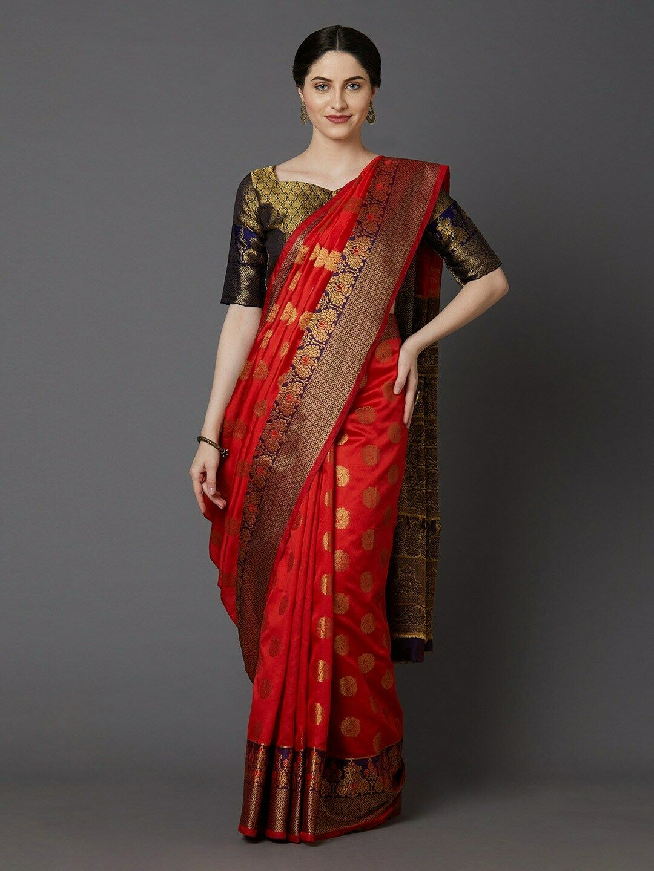 Red & Gold-Coloured Silk Blend Woven Design Banarasi Saree Indian Traditional