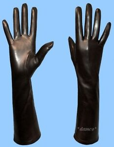 NEW-WOMENS-size-10-or-5XL-BLACK-GENUINE-LAMBSKIN-LEATHER-LONG-GLOVES-SILK-LINING