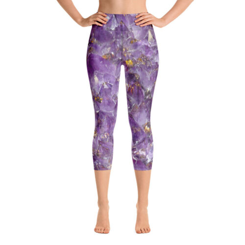 Amethyst Yoga Pants purple leggings crystal yoga pants amethyst capri leggings