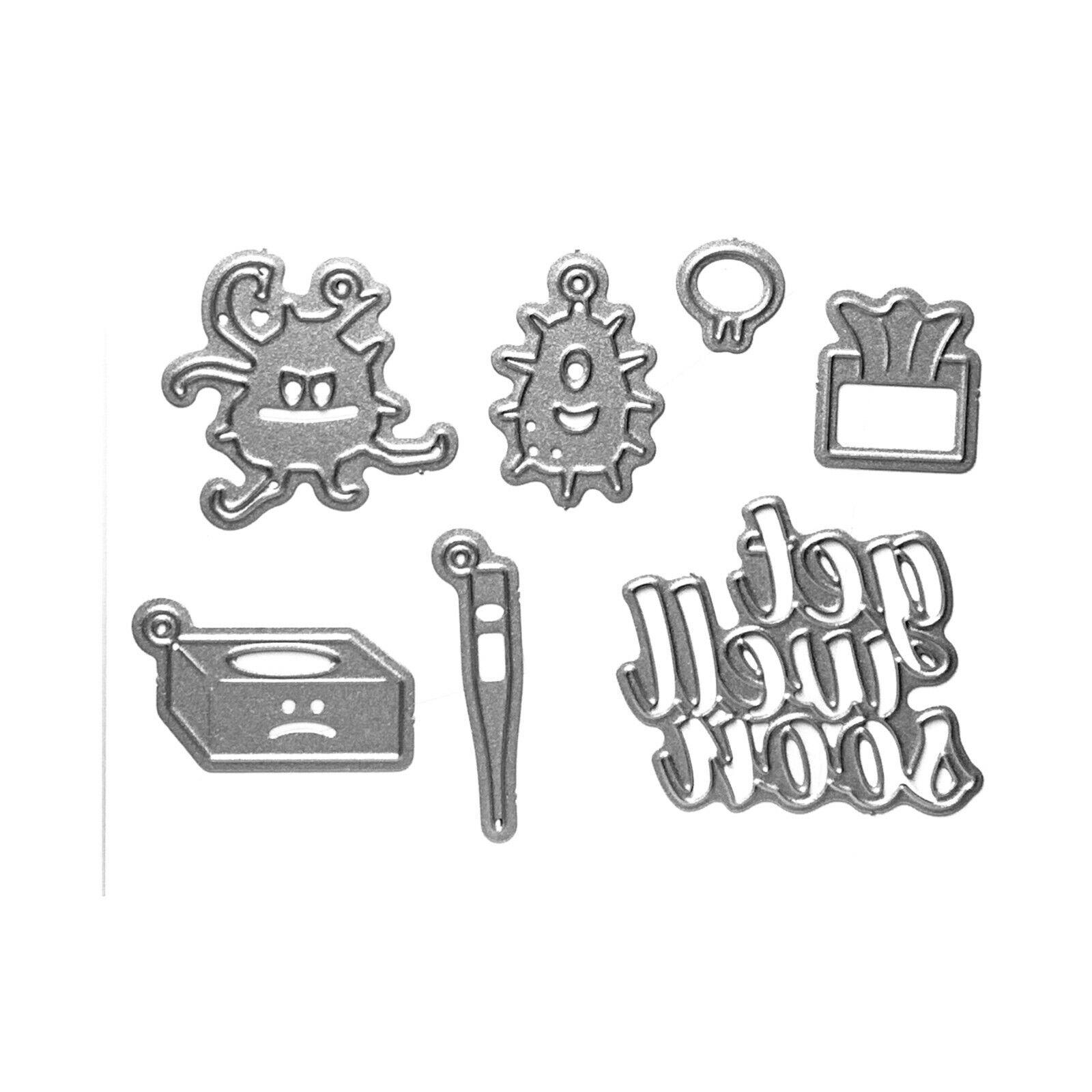 KB Riley Karen Burniston Die Set ~ GET WELL SOON CHARMS 3D Card Making ~1072