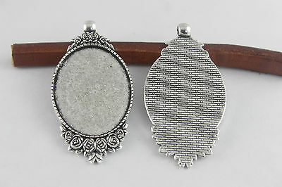 10 Antique Silver Plated 30x40mm Oval PENDANT TRAYS Blank Bezel/Cabochon Setting