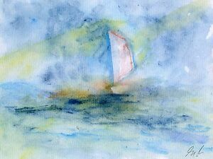 SAILBOAT ON THE SEA WATERCOLOUR PAINTING  MODERN PRINT SIGNED LIMITED RUN - <span itemprop='availableAtOrFrom'>Portsmouth, United Kingdom</span> - SAILBOAT ON THE SEA WATERCOLOUR PAINTING  MODERN PRINT SIGNED LIMITED RUN - Portsmouth, United Kingdom