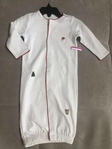 New Mud Pie Christmas Tree Santa Sleep Gown Sock Pajamas 0-3 Month White