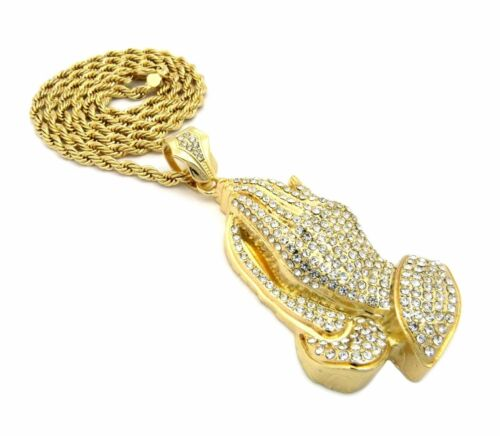 """MENS NEW ICED OUT GOLD PRAYING HANDS PENDANT 5mm and 30/"""" ROPE CHAIN NECKLACE"""