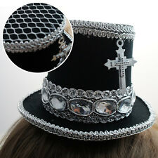 Black Silver Gothic Victorian Steampunk Mini Top Hat w/ Cross Halloween Costume