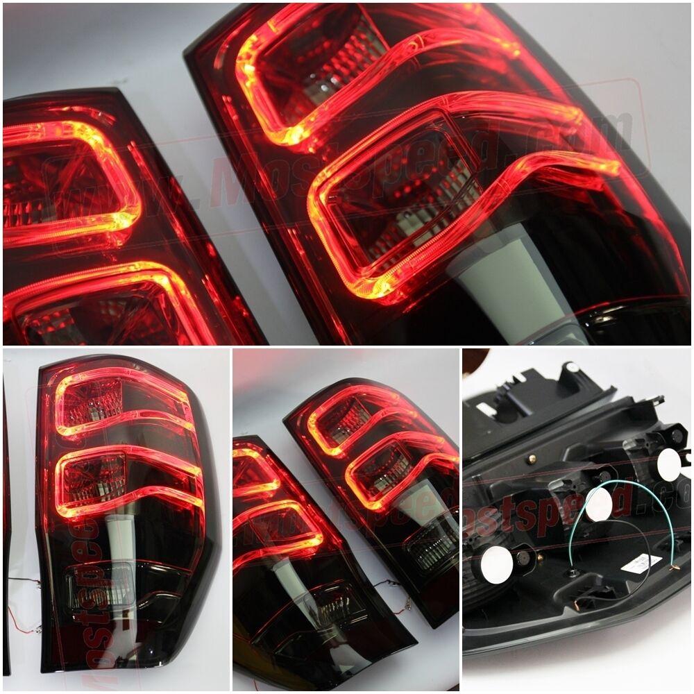 Rear Black Smoke Tail Light Lamp Red Led Ford Ranger T6