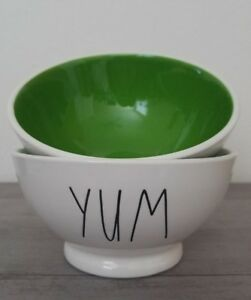 NEW (2) Rae Dunn by Magenta YUM Cereal Soup Salad Bowls Farmhouse Home Decor
