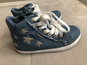 Girls-Geox-Sneakers-Blue-Denim-Stars-Shoes-Size-9-Or-26-Worn-Once