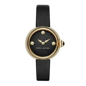 dd808ad5d146 Marc Jacobs Watch MJ1432 Women Ladies Gold Case Black Leather Band ...