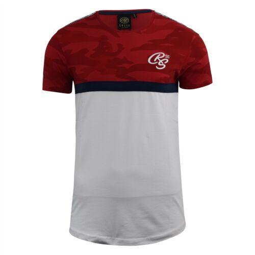 Mens T-Shirt Crosshatch Short Sleeved Panel Print Tee Top Cleverland