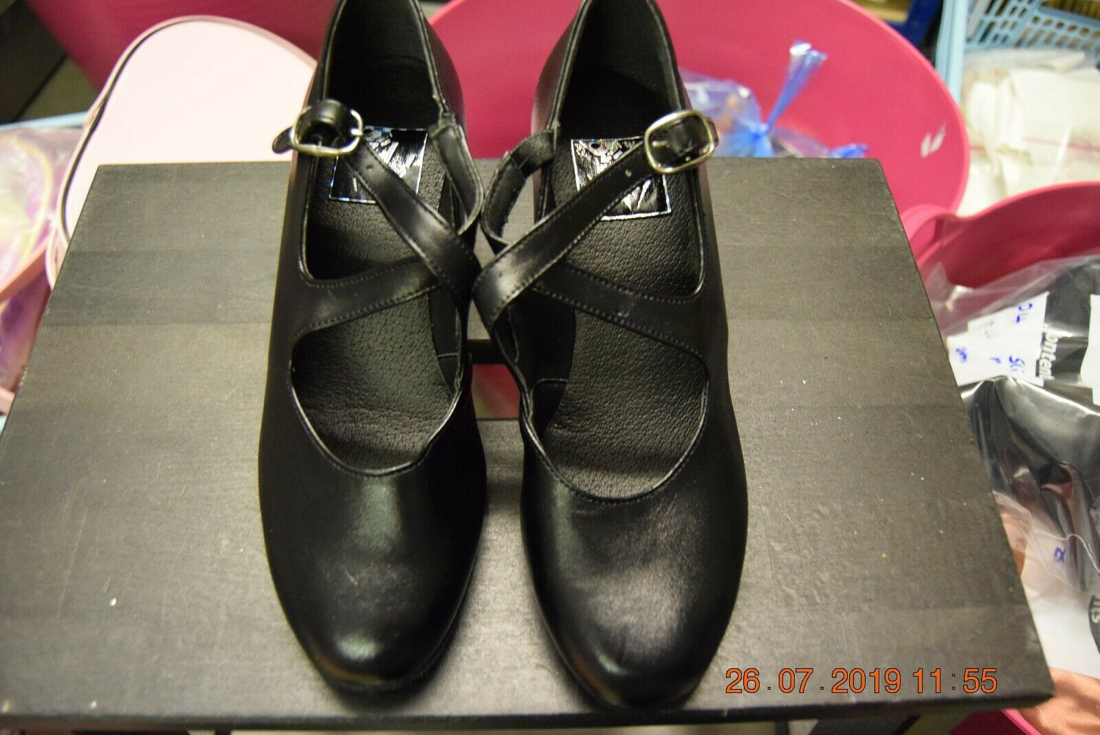Black Dancelife cross strap buckle character shoes - 2