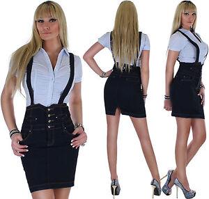 Damen-Jeans-Rock-Hochschnitt-Jeansrock-Damenrock-DamenjeansrockTraeger-Skirt-3e