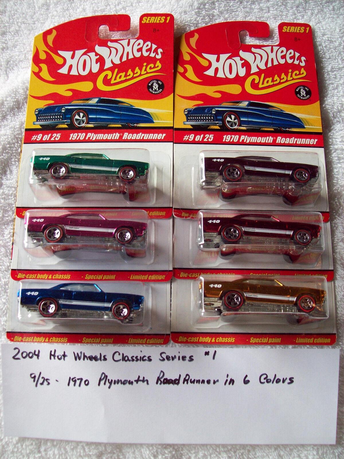 2004 Hot Wheel Classics Series 1 9 25 1970 Plymouth Roadrunner 6 color Car Set