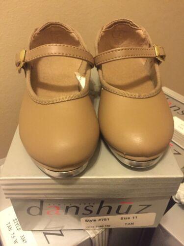 DANSHUZ #751 TAN Tap  Ballet dance shoes value strap new KID/'s size 11-12