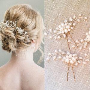 Paire Pince Cheveux Epingle Clips Bijoux Perles Fleur Mariage
