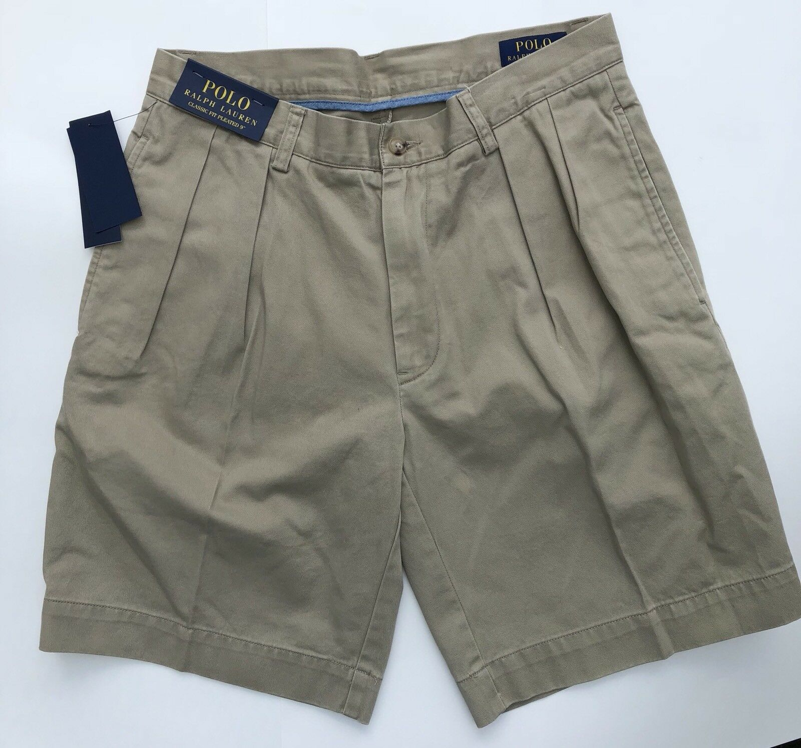 Polo Ralph Lauren Classic Fit Pleated 9  Tan Shorts- Men's Various Sizes NWT