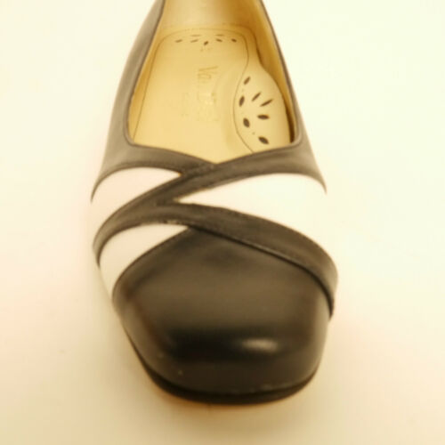 Van Dal Memphis Navy Blue White Low Heel Court Shoe EE Fitting