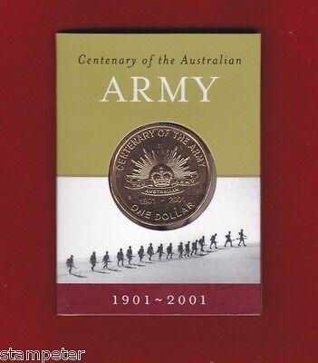 """2001 $1 Unc Coin Centenary of the Australian Army /""""S/"""" Sydney Mint Mark"""