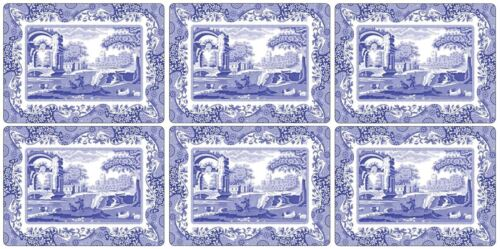 6 X CLASSIC BLUE ITALIAN FLORAL BLUE WHITE CORK BACKED PLACEMATS 30.5X23X0.6CM