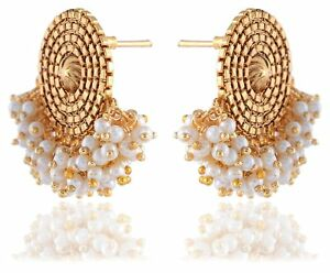 Image Is Loading Indian Bridal Earrings Gold Plated Jewelry Antique Bunch