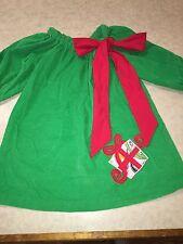Le' Za Me Girls Size 4 Christmas Dress Green Corduroy Boutique Applique Red Bow