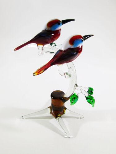 Figurine Birds on branch Blown Glass Russian Murano Handmade Loving Couple #41