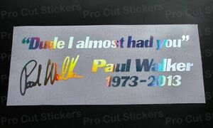 Paul walker si la vitesse me tue argent hologramme neo chrome stickers autocollants d7