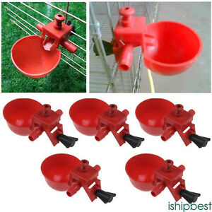 5pc-AUTOMATIC-POULTRY-CHICKEN-WATER-CUP-DRINKER-DRINKING-PLASTIC-CUP-SYSTEM-BOWL