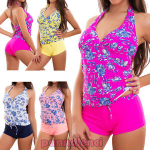 07dc81b0b99f7 Bikini Tankini Mujer Traje de Baño Mar Dos Piezas Flores Shorts Top ...