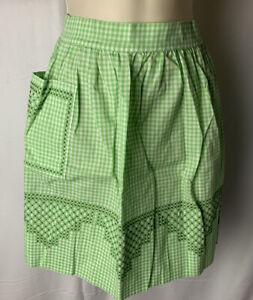 MCM 40s - 60s  Vintage Floral Apron Embroidered Half White Green Gingham Pocket