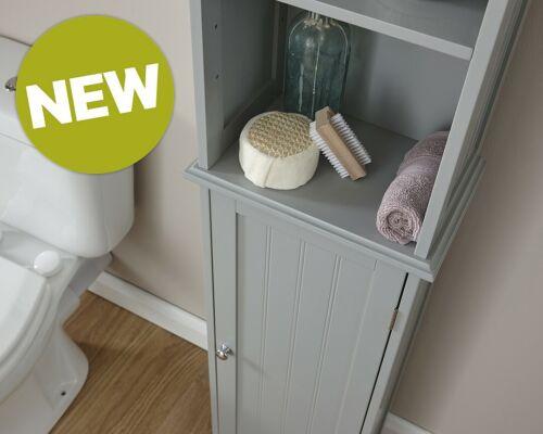 Bathroom Cabinet 3 Shelf 1 Door Slim Tall Cupboard Storage Unit New White//Grey