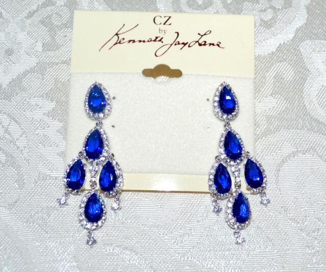 Nwt 465 Cz Kenneth Jay Lane Sapphire Blue Crystal Teardrop Chandelier Earrings