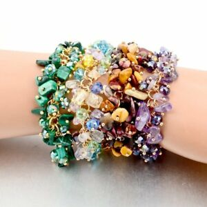 Charms-Women-Natural-Crystal-Stone-Gravel-Chip-Bracelet-Wristband-Bangle-Jewelry