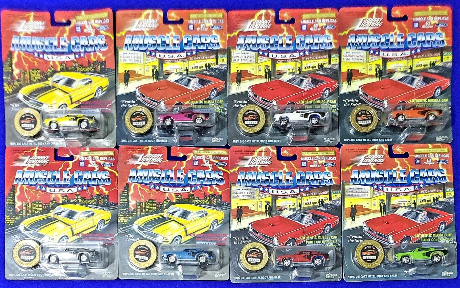 Vintage Johnny Lightning Lot of 8 1971 Hemi Cuda in Different Colorees MIP MOC