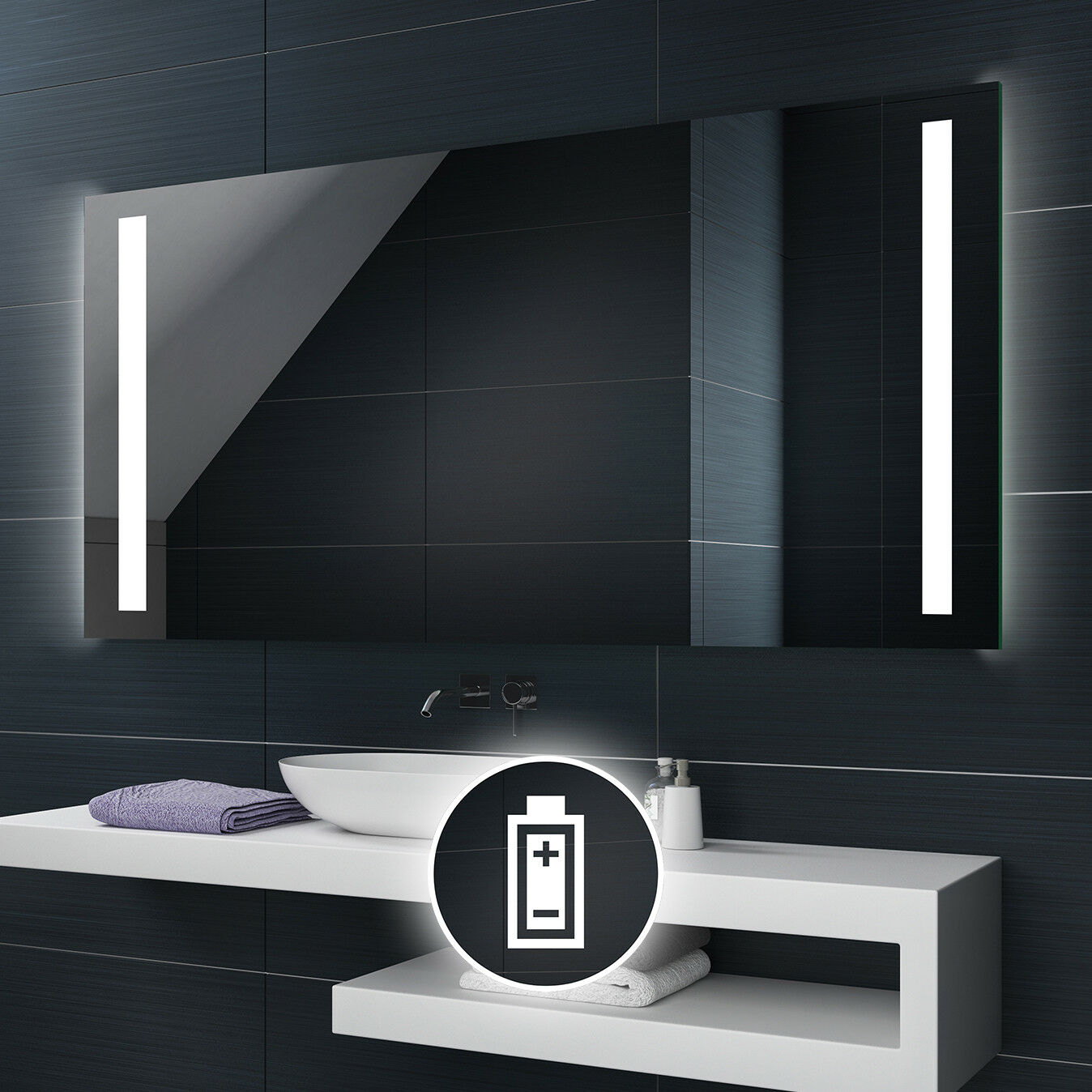 Alimenté par batterie DEL illuminé Miroir de salle de bains Batterie taille personnalisée L02
