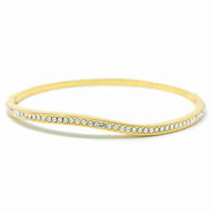 Curve-Pave-Bangle-Bracelet-with-White-Round-Crystals-from-Swarovski-Gold-Plated