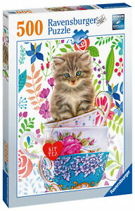 15037 Ravensburger Teacup Kitty, 500pc Adult's Jigsaw Puzzle Age 10 Years+